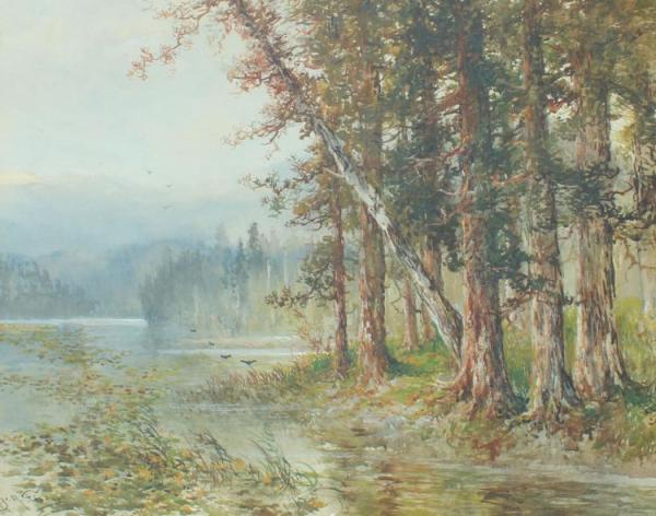 hugo fischer river landscape painting