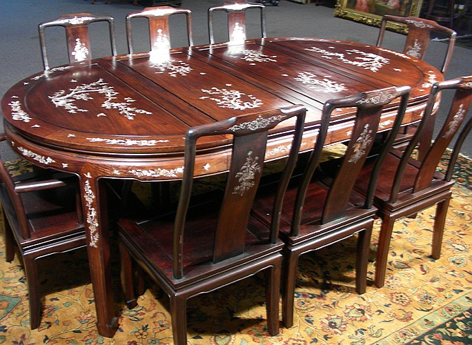 chinese rosewood dining table and chairs chair back covers dunelm hand carved with eight lot 134