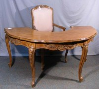"""UNUSUAL HAND CARVED WOODEN """"U"""" SHAPED DESK WITH CHAIR"""