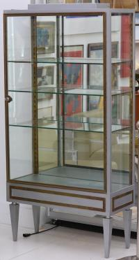 A MID 20th CENTURY BRASS DISPLAY CABINET, later painted grey