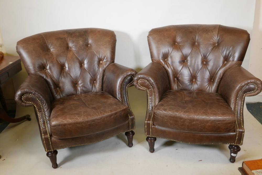 tub chair brown leather wedding cover hire fife a pair of button back chairs 40 high lot 1043