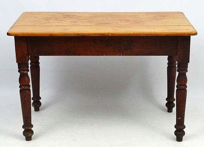 pine kitchen table outdoor kitchens lowes a c 1900 with frieze drawer to one end 45 1 2 lot 231