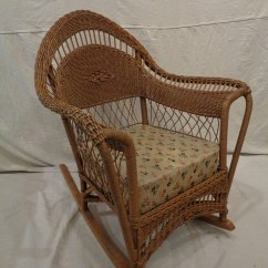 Wicker Rocking Chair Office Stool Heywood Wakefield Style Lot 61