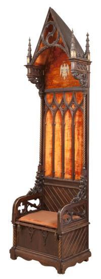 Italian Gothic Revival Throne Chair
