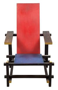 Gerrit Rietveld Painted and Stained Wood Red Blue Chair Heig