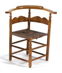 ANTIQUE AMERICAN CORNER CHAIR In maple with old, possibly or