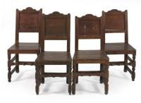 FOUR EARLY RUSTIC HARDWOOD CHAIRS With mortise and tenon and