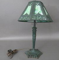 Early Electric Stained Glass Table Lamp