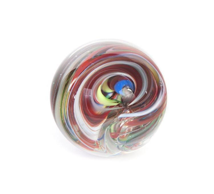 LARGE GLASS MARBLE WITH SIGNATURE