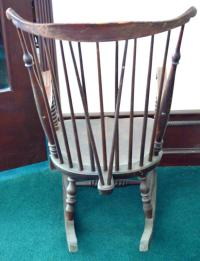 Large Vintage Wood Rocking Chair Single Plank