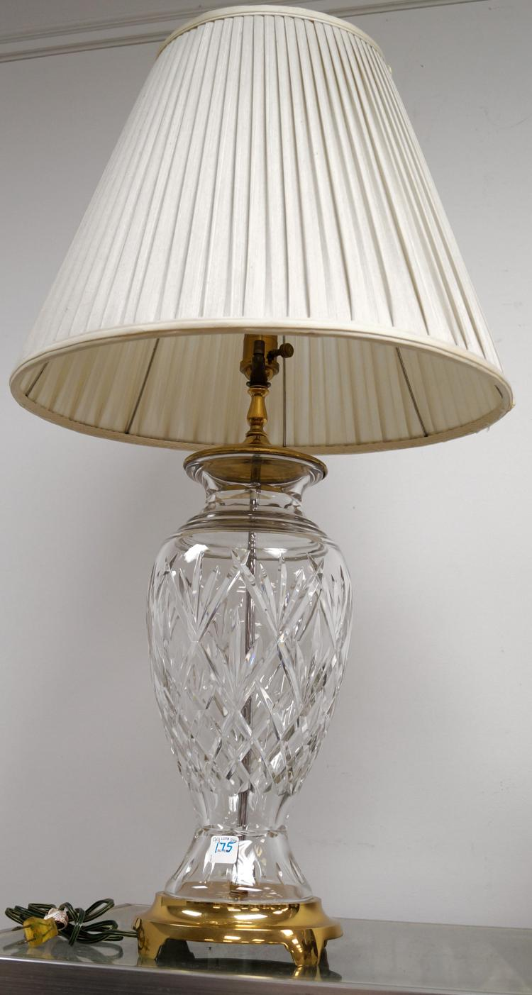 """WATERFORD CUT CRYSTAL AND BRASS TABLE LAMP. HEIGHT 36"""""""