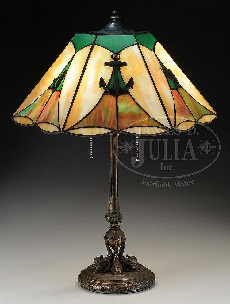 LEADED GLASS NAUTICAL TABLE LAMP.
