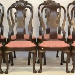 Queen Anne Style Chairs Hostess Dining Frank Auspitz Set Of 8 Lot 685