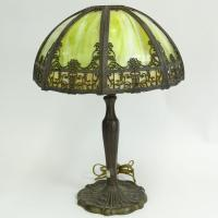Antique Green Slag Glass Table Lamp with Metal Overlay and B