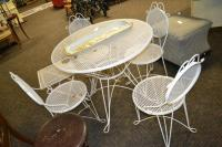 Vintage Expanded Metal Outdoor Patio Table 4 Chairs