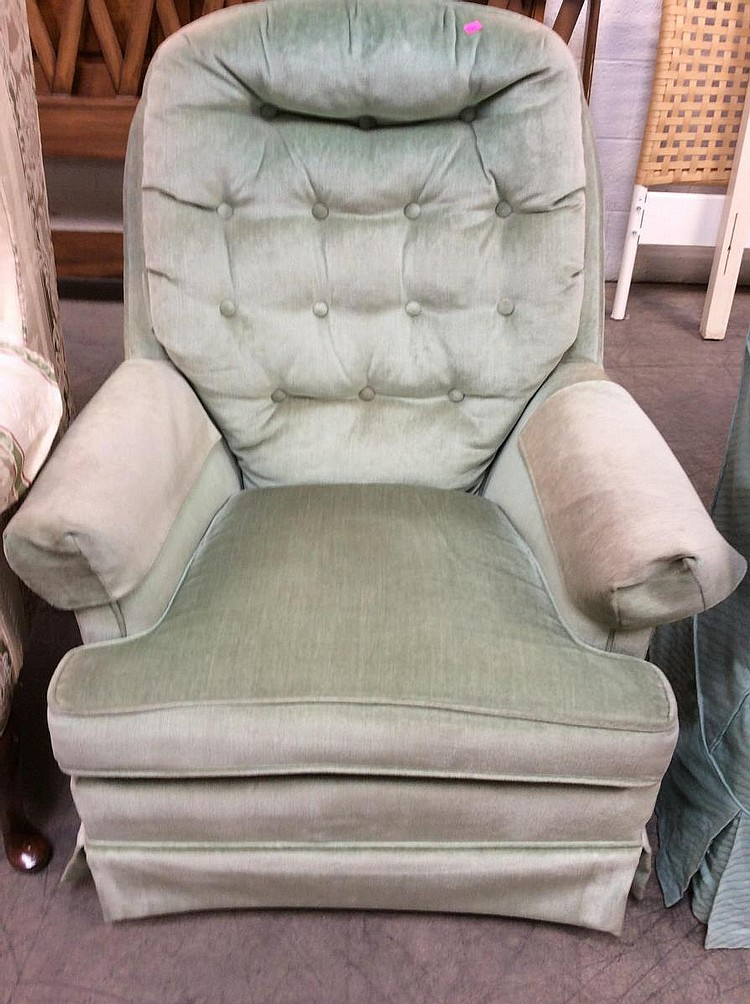 Upholstered Tufted Swivel Rocking Chair