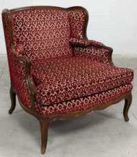 Vtg. Wood Accent Baroque Fabric Wing Back Chair