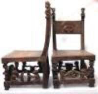 African Chokwe Matching Throne Chairs