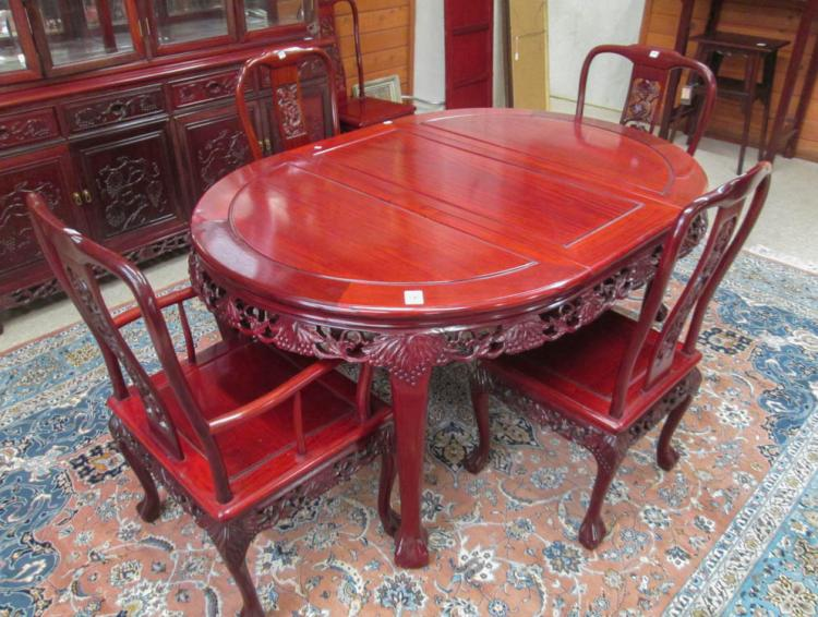 chinese rosewood dining table and chairs yard swing chair six set w lot 396