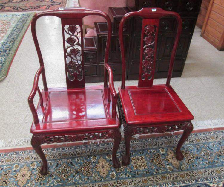 chinese rosewood dining table and chairs portable chair with canopy footrest six set w lot 396
