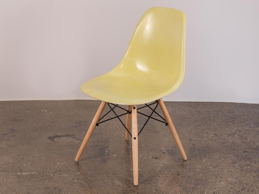 fiberglass shell chair oxo tot sprout replacement cushion set taupe canary yellow eames on maple dowel base h20326 l146727504 jpg
