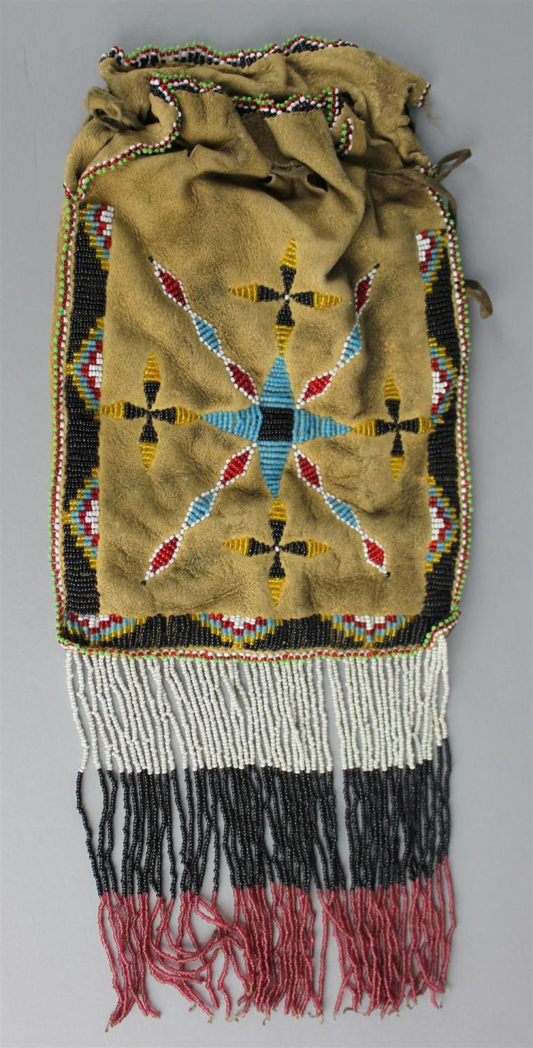 NATIVE AMERICAN BEADED HIDE BAG APACHE