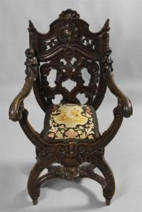 VENETIAN BAROQUE STYLE WALNUT SAVONAROLA CHAIR