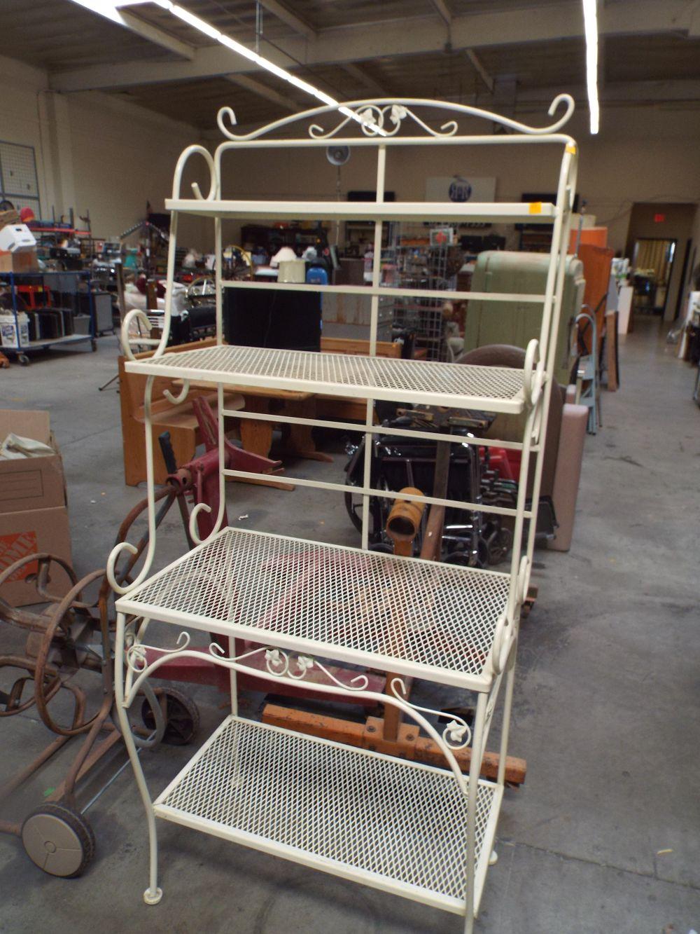 vintage cream color bakers rack