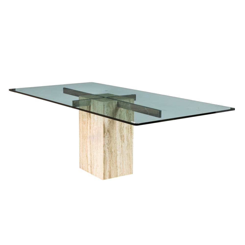 artedi travertine glass dining table