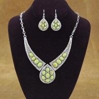 Gaspeite Sterling Silver Necklace and Earrings