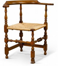 WILLIAM AND MARY TURNED MAPLE RUSH-SEAT CORNER CHAIR, NEW EN
