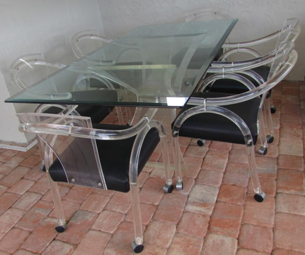lucite acrylic chairs eclectic dining uk set 6 table modern lot 253