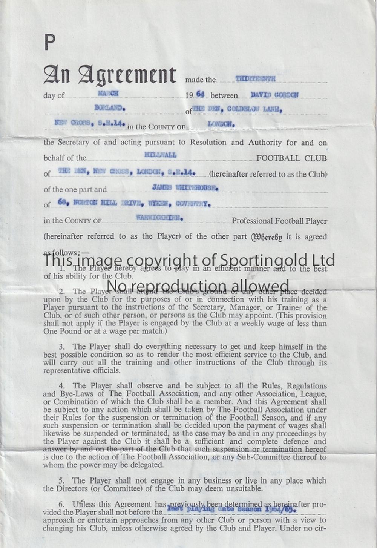 DAVID BORLAND / FOOTBALL CONTRACT An original contract betwe