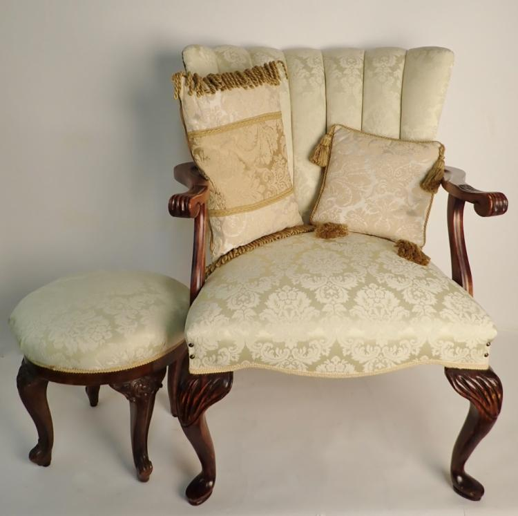 queen anne style chair reupholster swivel office and ottoman lot 143