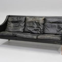 Borge Mogensen Sofa Model 2209 Kensington Sofas 3 Personers Sort Skind Pa Ben