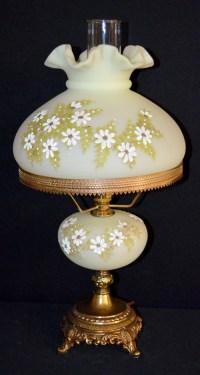 Fenton Yellow Satin Electric Table Lamp, White Floral Decora