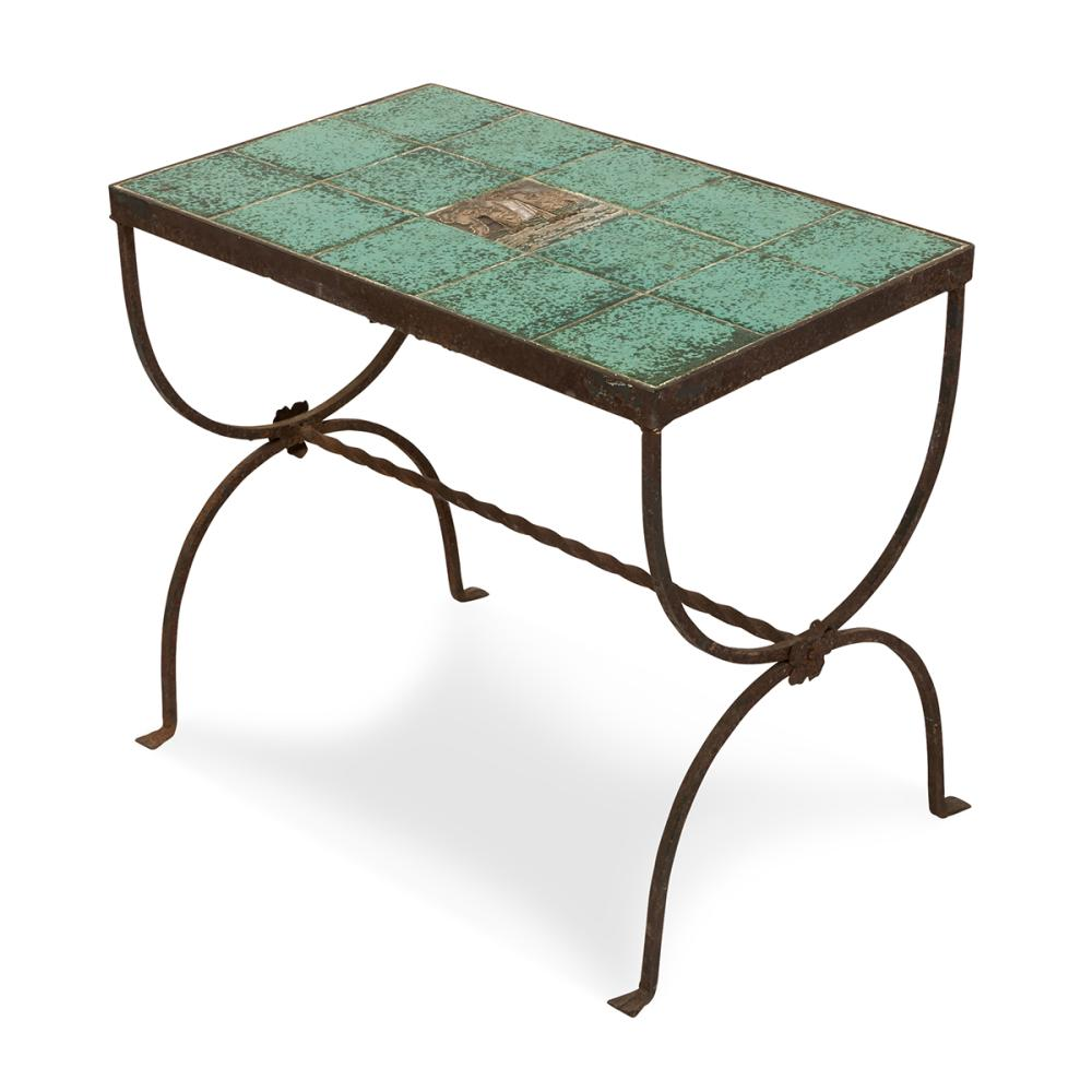 american arts crafts ship tile top side table 21 1 4 w x 13 d x 18 h
