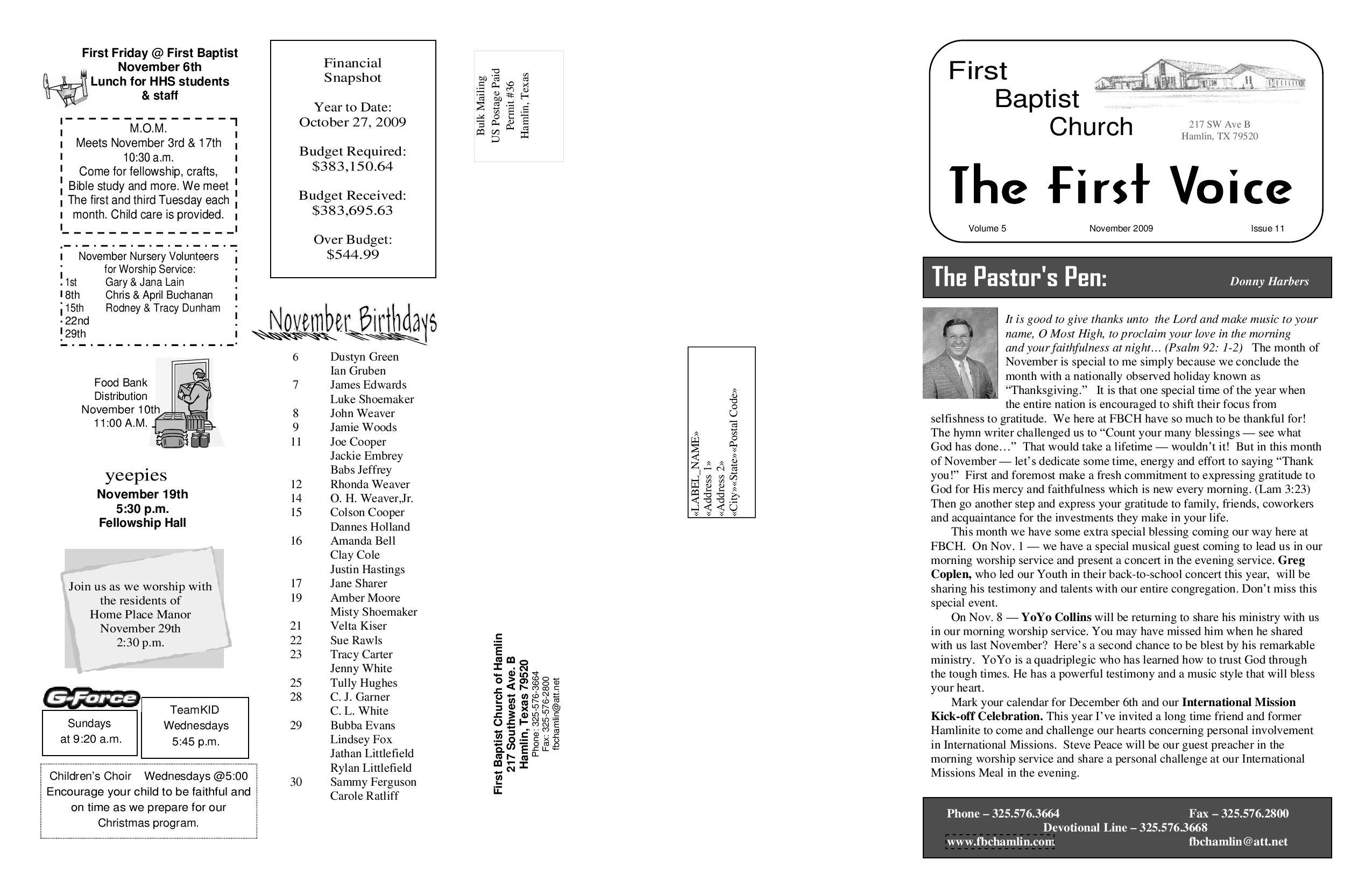 November Newsletter by First Baptist Church Hamlin (page 1