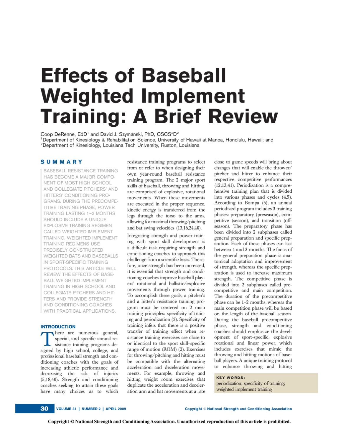 Effects of baseball Weighted Implement Training by MLB