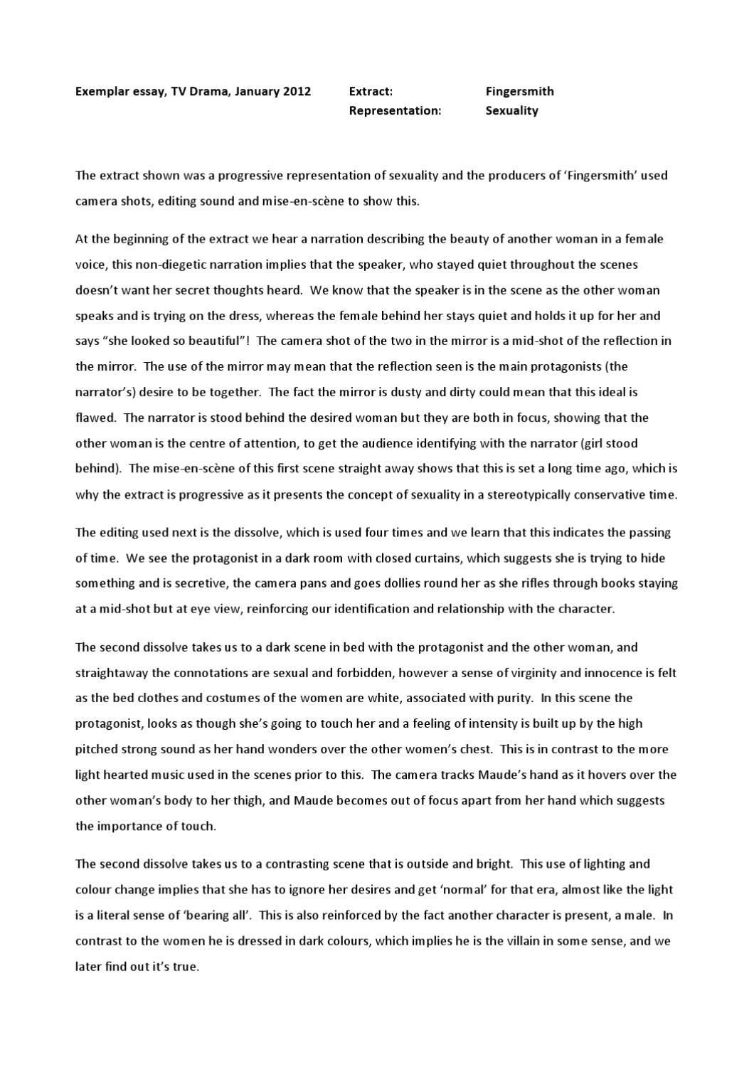 Essay Tv Fingersmith Essay By Sonia Marshall Essays About Violence