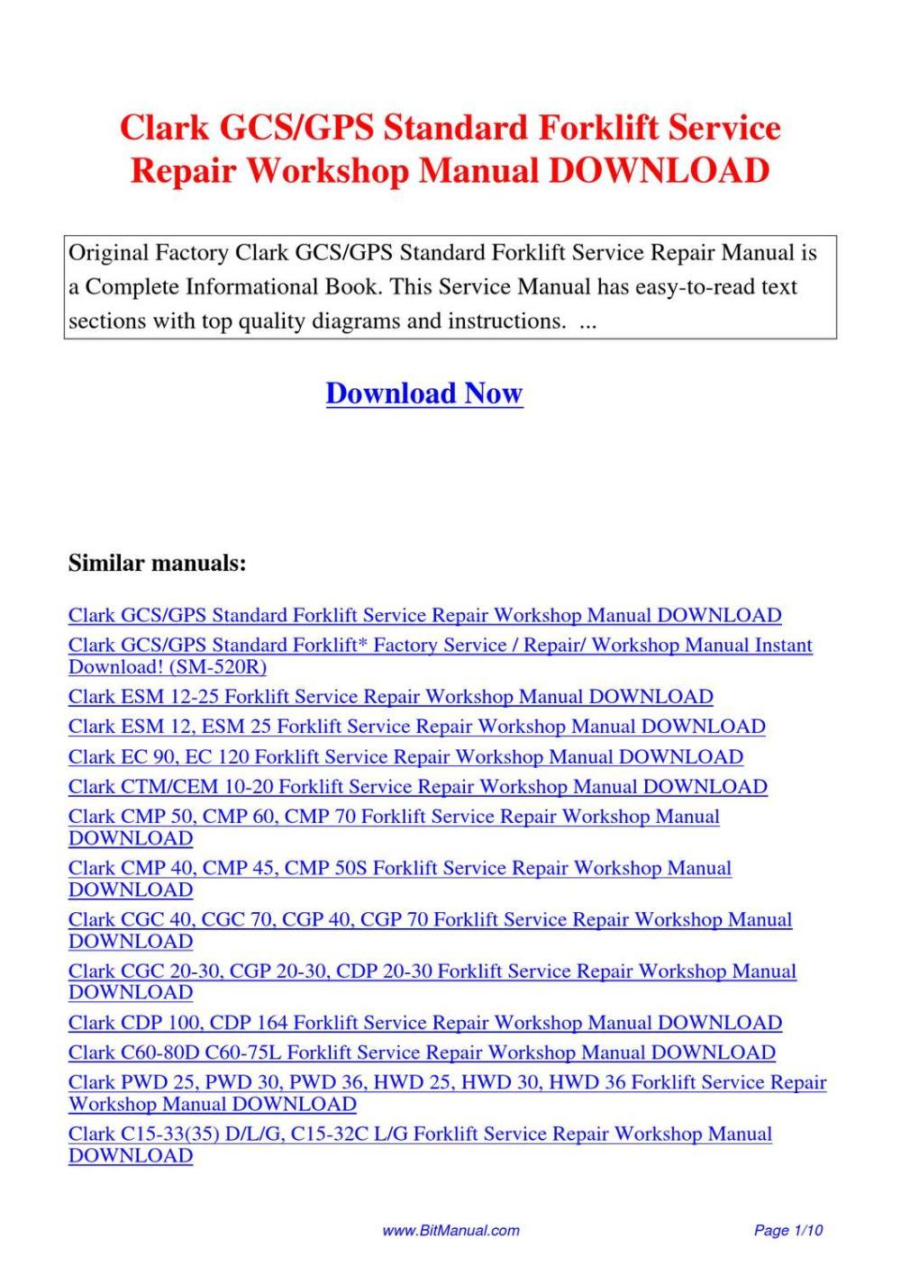 medium resolution of  array clark forklift gcs repair manual rh lectintelllceit