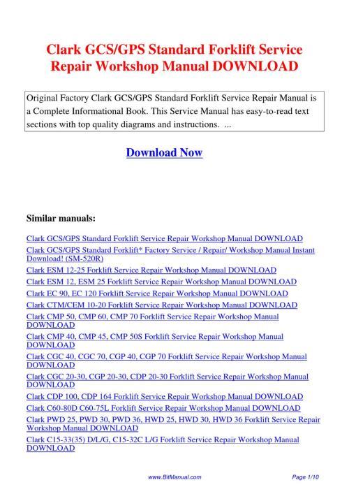 small resolution of  array clark forklift gcs repair manual rh lectintelllceit