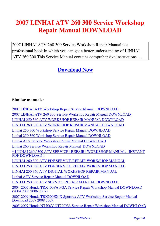 download linhai 250 360 atv model 8260 service repair workshop manual