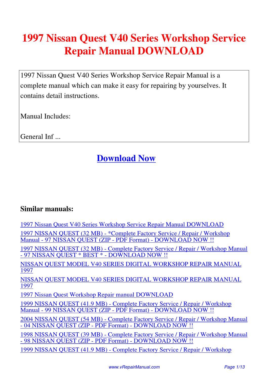 1997_Nissan_Quest_V40_Series_Workshop_Service_Repair