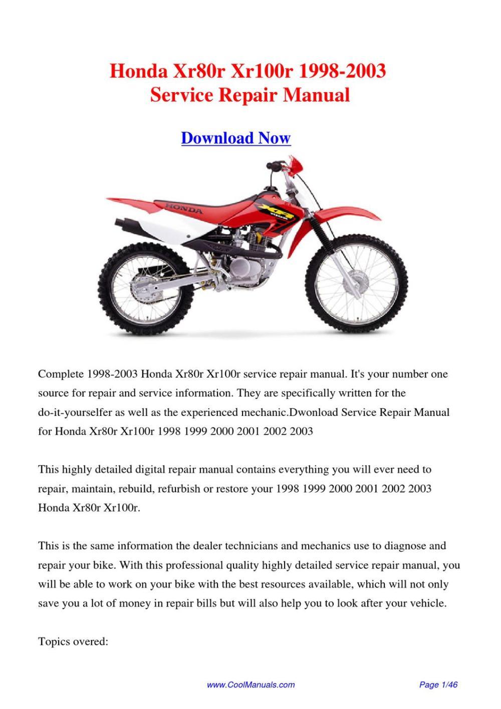 medium resolution of  2002 1996 honda xr100r free manual on 2002 honda xr 650 2002 honda crf 150f