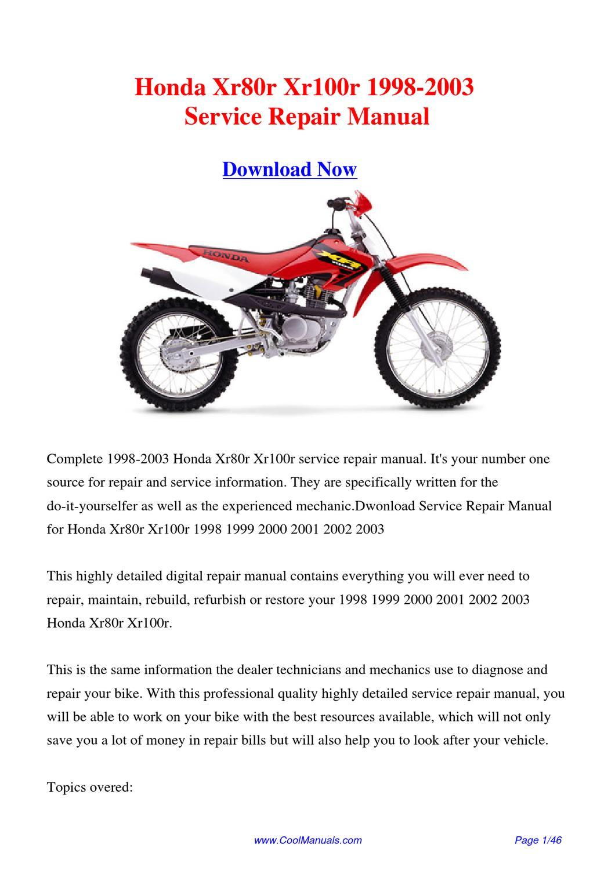 hight resolution of  2002 1996 honda xr100r free manual on 2002 honda xr 650 2002 honda crf 150f