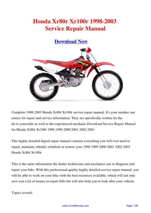 small resolution of  2002 1996 honda xr100r free manual on 2002 honda xr 650 2002 honda crf 150f