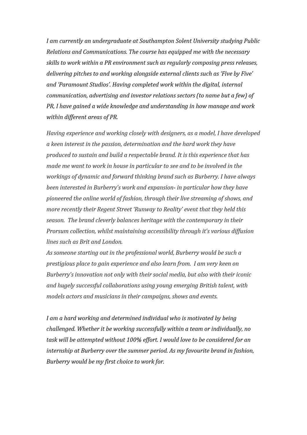Burberry Cover Letter by sam morgansmith  issuu