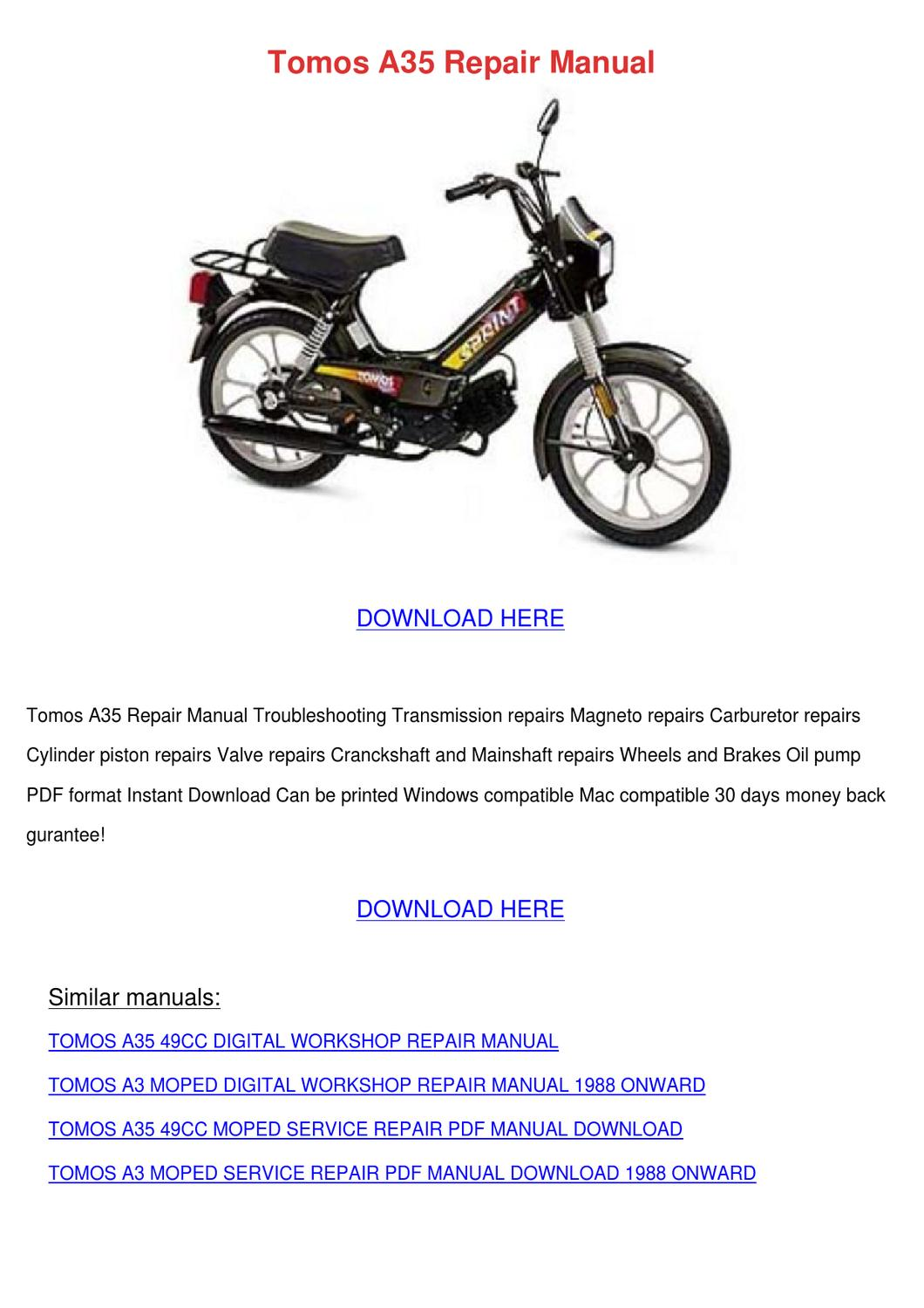 Tomos A3 Moped Manual Auto Electrical Wiring Diagram A35