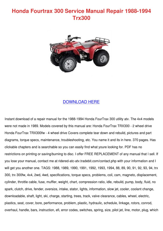 Honda Fourtrax Manual Online